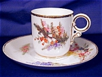 Royal Worcester Floral hand painted demi c&s