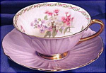 Click here to enlarge image and see more about item SHEL005: Shelley Mauve 'Footed Oleander' cup & saucer.