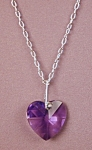 Click here to enlarge image and see more about item SWNK015BV: Swarovski Blue Violet Heart Pendant & SS