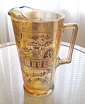 Marigold Carnival  Glass Pitcher Willow Pattern  (Image1)