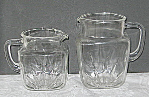 Vintage 1950 Clear Glass Beer Pitchers (Image1)