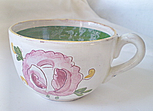 Antique Red Clay Handpainted Asian Tea Cup   (Image1)