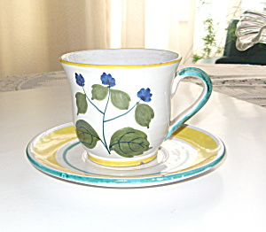 Handpainted Italian Pottery Teacup And Saucer