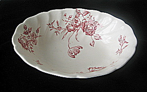 Antique Day in June -Red Oval Serving Bowl Johnson Bros (Image1)