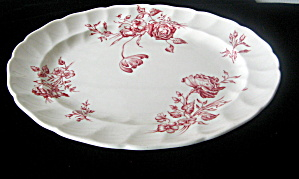 Antique Day in June Red Large Oval PlatterJohnson Bros. (Image1)