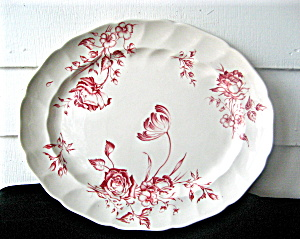 Antique Johnson Bros.Small Oval Platter Red Day in June (Image1)