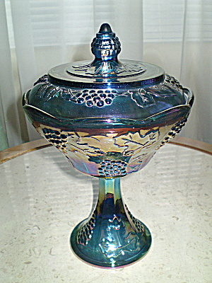 Carnival Glass Blue Fruit/candy Compote 1950