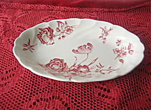 Vintage Johnson Bros. Day in June Red Pickle Dish (Image1)