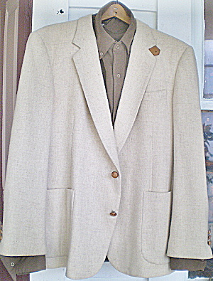 Vintage Mens White Wool Sportcoat- Suede Sleeve Patches (Image1)