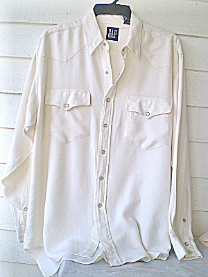 MensShirt w/Pearl Snaps GAP Wht Flannel Western  (Image1)