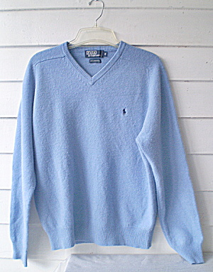 Polo V-Neck Sweater Vintage Ralph Lauren Blue Lambs Wool (Image1)