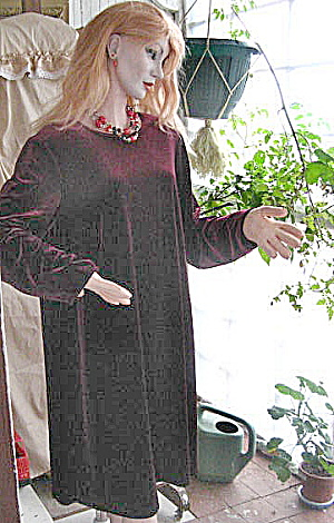 Vintage Stretch Red Wine Velvet Dress/large
