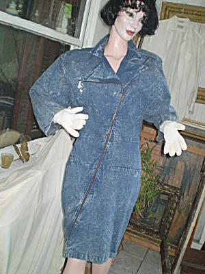 Jean Dress Vintage 1980  Batwing Sleeves (Image1)