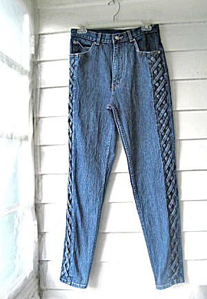 Vintage Ladies Stretch Jeans with  Side Twist Lacing (Image1)