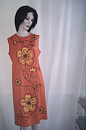 Linen Dress Vintage Resort Jet Beaded