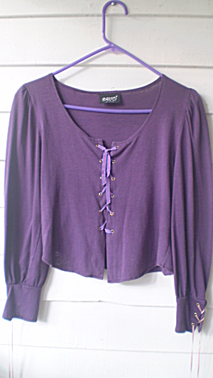 Hippy Top Vintage 1969 Purple Cotton Knit Elizabethan  (Image1)