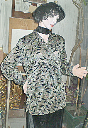Vintage Black & Gold Lame' Ladies Dressy Blouse Top (Image1)