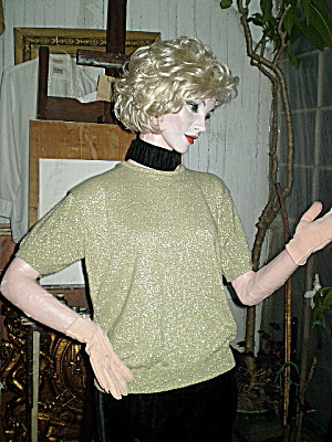 Vintage 1980 Gold Lame' Pullover Sweater (Image1)