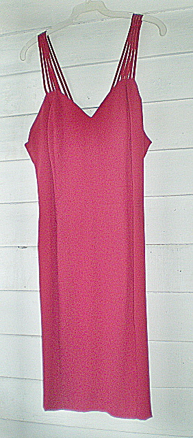 Party Dress Red Crepe Vintage (Image1)