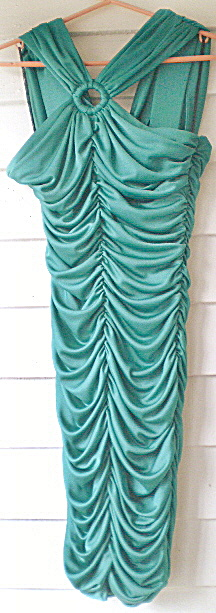 Vintage Ladies Emerald Green Shirred Party Dress