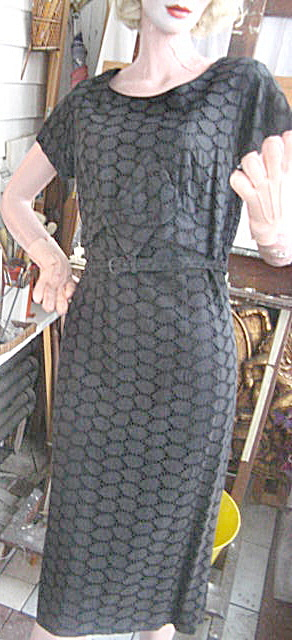 Vintage 1950 Black Cotton Linen Cutwork Lace Dress