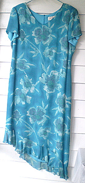 Vintage 100% Silk Teal Blue Flowered Dress
