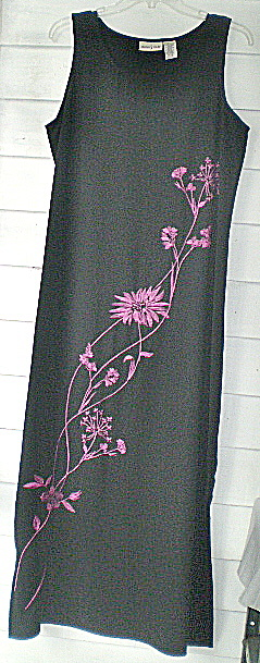 Embroidered Dress Long Black Vintage