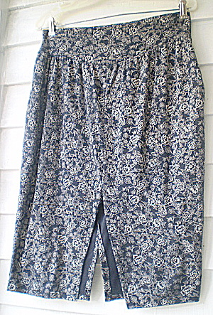 Vintage European Cotton Knit Gray and Navy Skirt  (Image1)