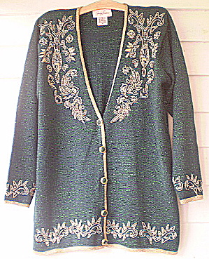 Vintage1980s Green Lame' Beaded Cardigan