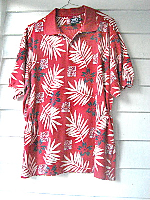 1980 Ladies Red Flowered Golf Shirt (Image1)