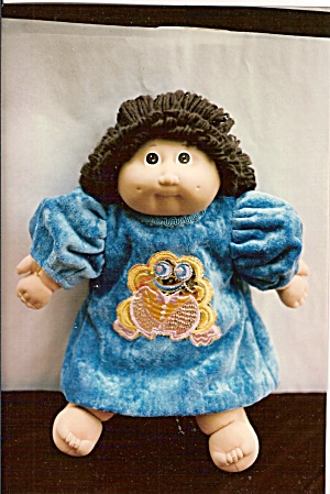Cabbage Patch Doll Dress - Aqua Cut Velvet (Image1)