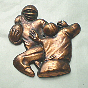 Football Wall Plaque Vintage Copper 1950
