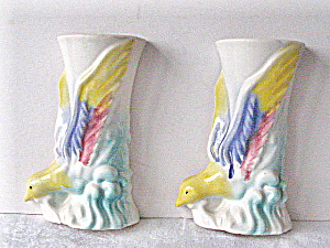Vintage 1949 Stylized Bird Decorative Wall Vase (Image1)