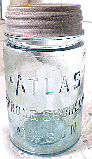 Fruit Jar Atlas Blue Strong Shoulder Pint 1930s (Image1)