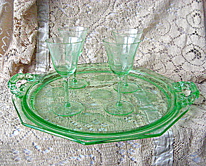 Antique Green Etched Depression Glass Tray & Stemware