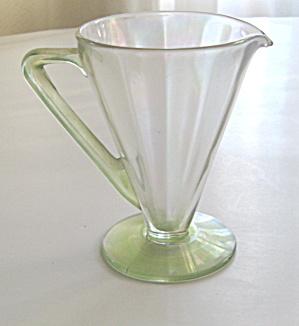 Green Depression Glass Creamer Vintage  (Image1)