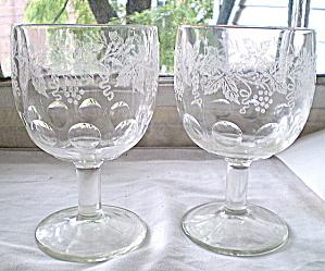 Wine Goblets Etched Glass Vintage 1950s  (Image1)