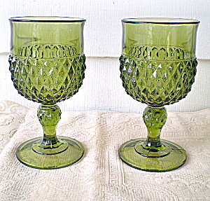 Vintage 1950s Diamond Cut Green Goblets