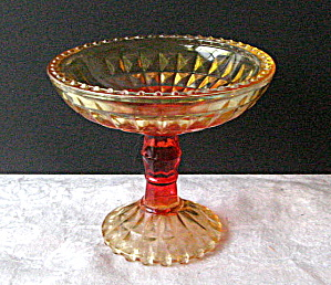 Vintage Depression Gold/Red Candy Dish Jeannette Style (Image1)