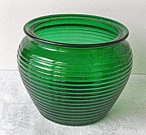 National Pottery Green Ribbed Art Glass Vase 1950 (Image1)