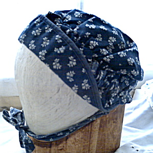 Vintage Amish Mennonite Navy Cotton Bonnet (Image1)
