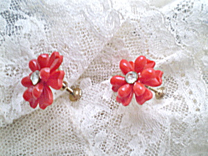 Vintage 1950s Ladies Red Plastic  Earrings w/Rhinestones (Image1)