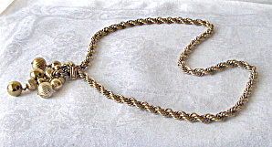 Vintage Gold Twisted Chain Necklace w/ Decorative End (Image1)