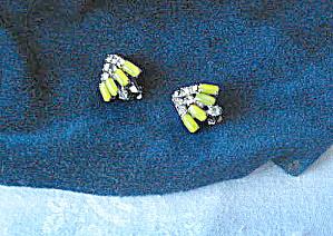 Vintage 1940s Rhinestone Earrings with Peridot Gemstones  (Image1)