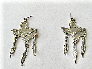 Vintage 1980 Pewter earrings Texas Shape w/ Longhorns (Image1)