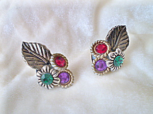 Vintage Bakelite Earrings With Colored Lucite Gems
