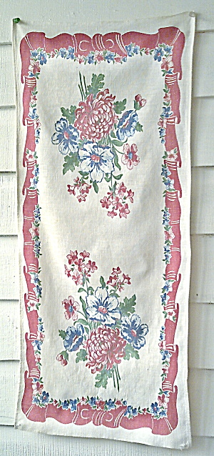 Vintage 1950s-1960 Dishtowel - Flowers In The Kitchen