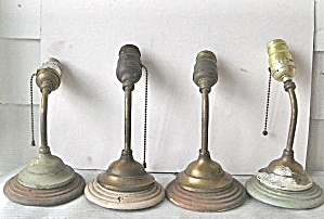 Vintage 1920 Brass  & Wood  Electric Wall Sconces (Image1)
