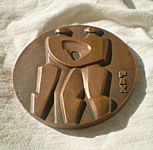 Vintage 1967 PAX Copper Paperweight Commemorative (Image1)