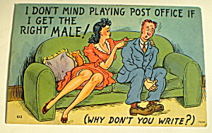 Comic Vintage Postcard-playing Post Office